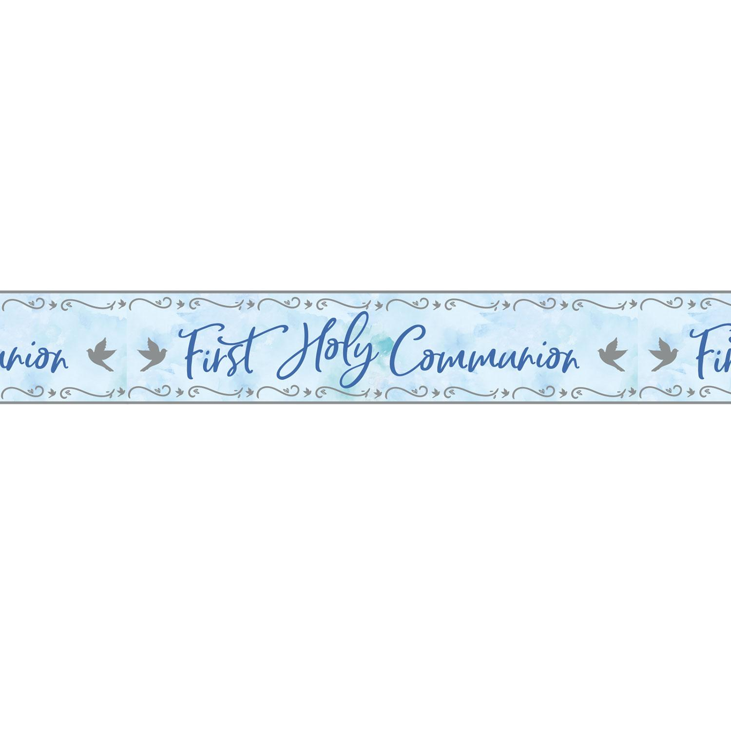 Holographic Banner First Holy Communion Blue