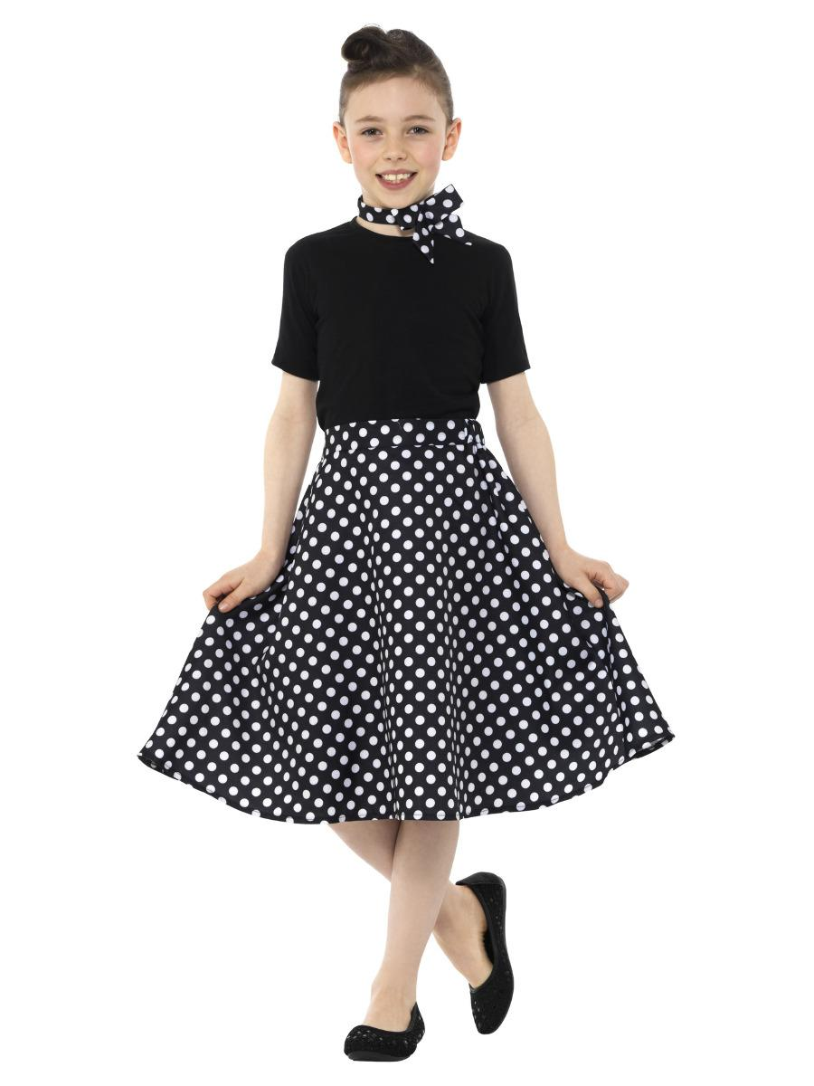 Kids 50s Polka Dot Skirt Black with Neck Scarf