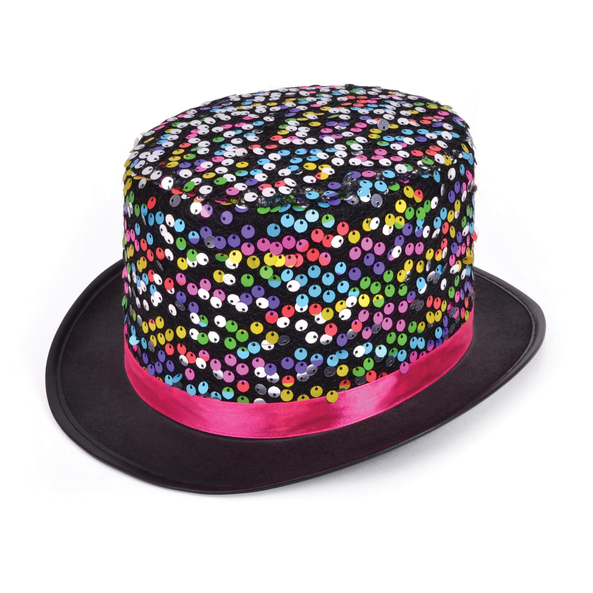 Multi-coloured Sequin Top Hat