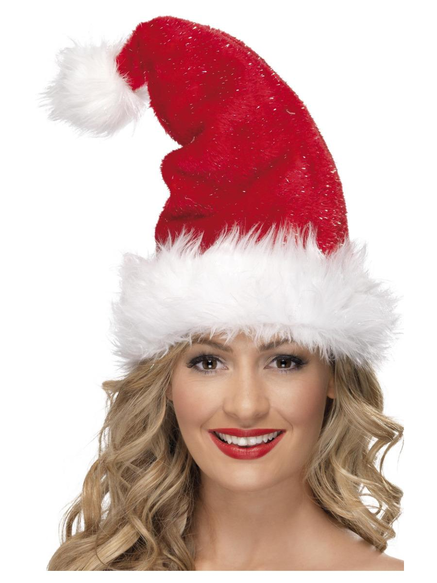Santa Hat, Red, with Tinsel, Deluxe