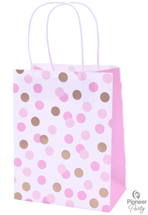 Pink & Gold Dot Paper Party Bags 4ct