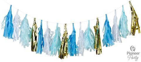 Blue, White & Gold Tassels Garland 2m