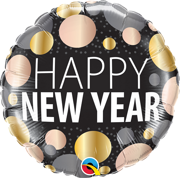 Foil Balloon Happy New Year Metallic Dots