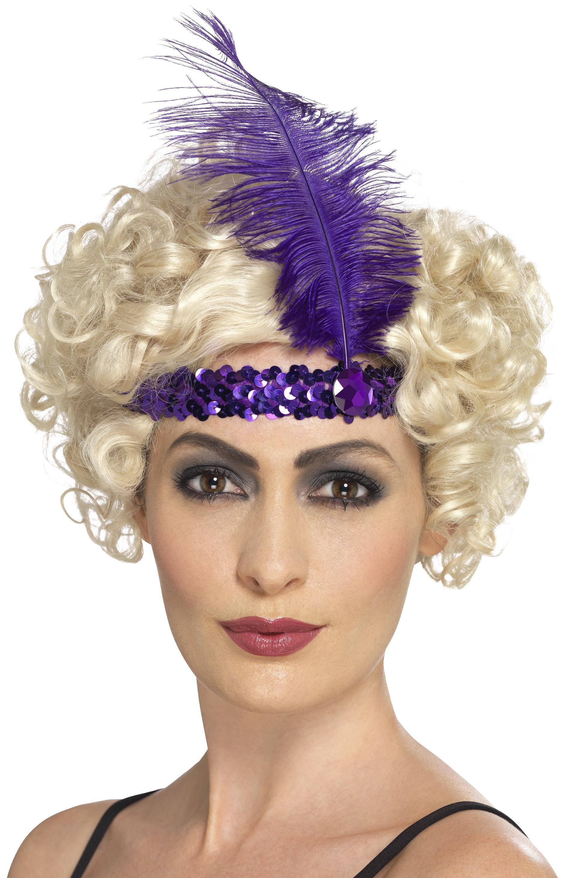Flapper Headband Purple sequin