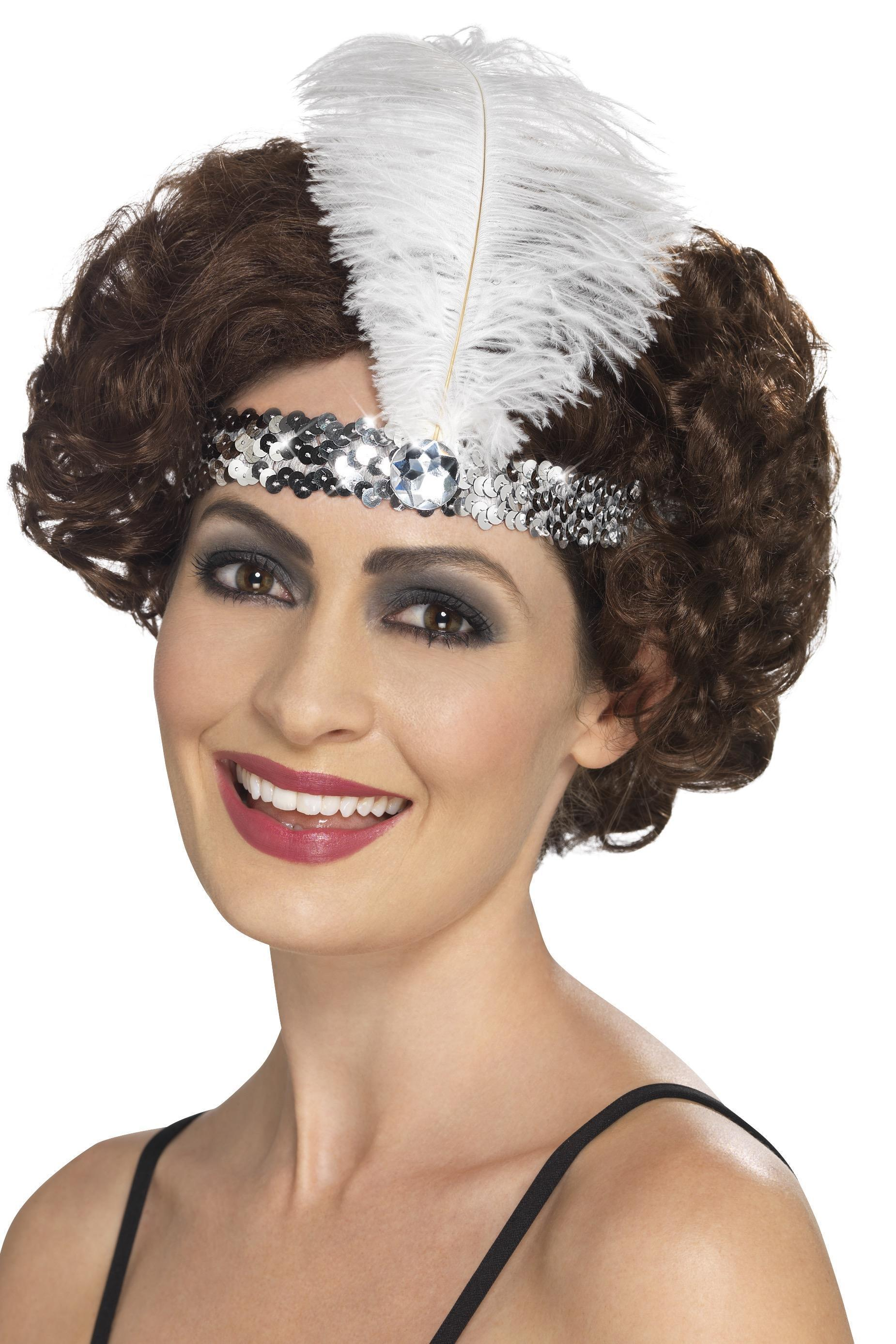 Flapper headband silver sequin.