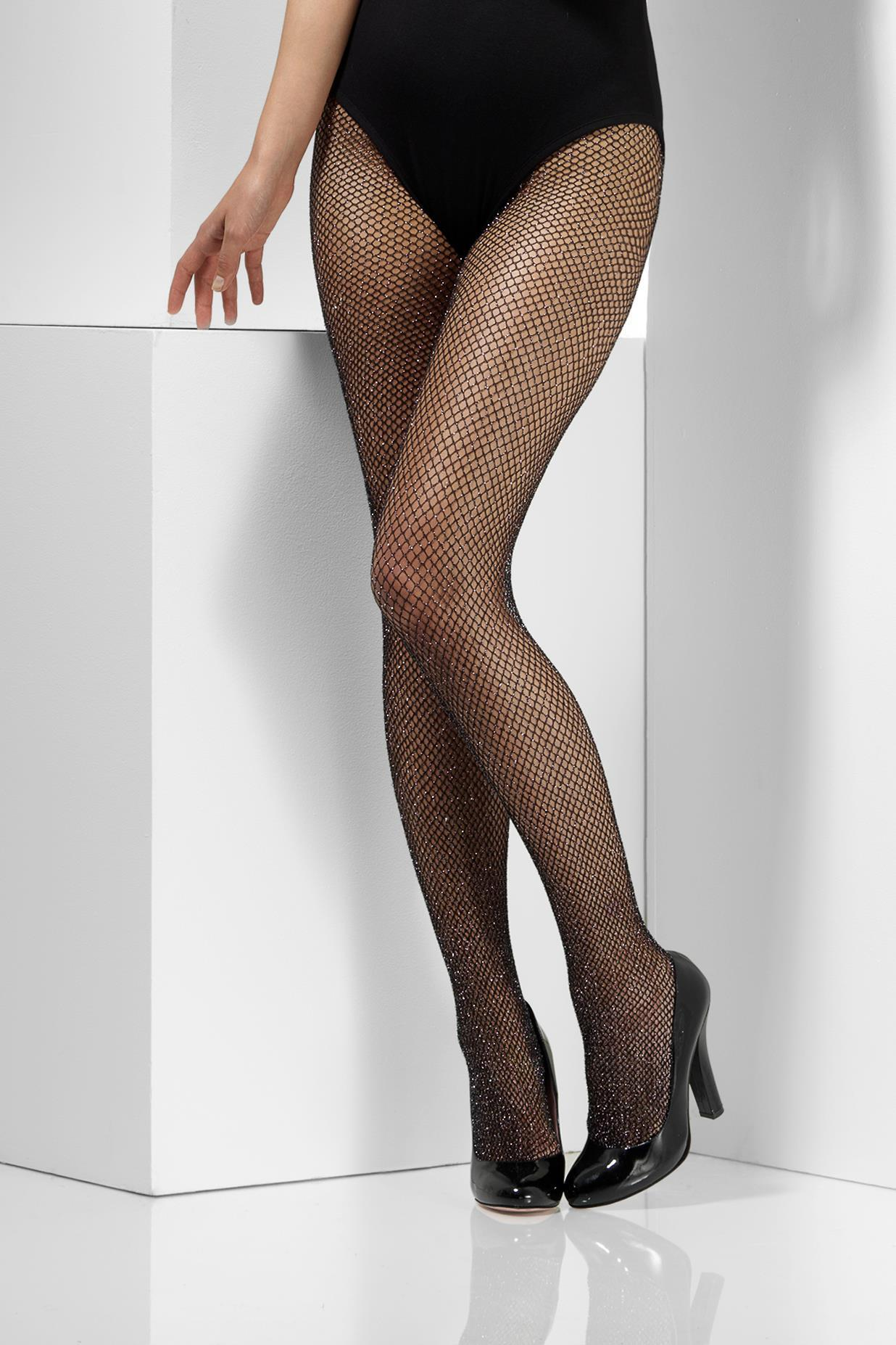 Glitter Fishnet Tights Black & Silver.