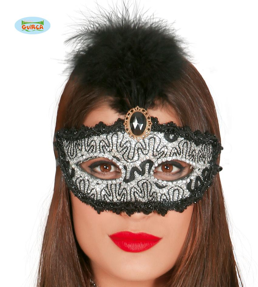 Black & Silver Eye Mask with Feather