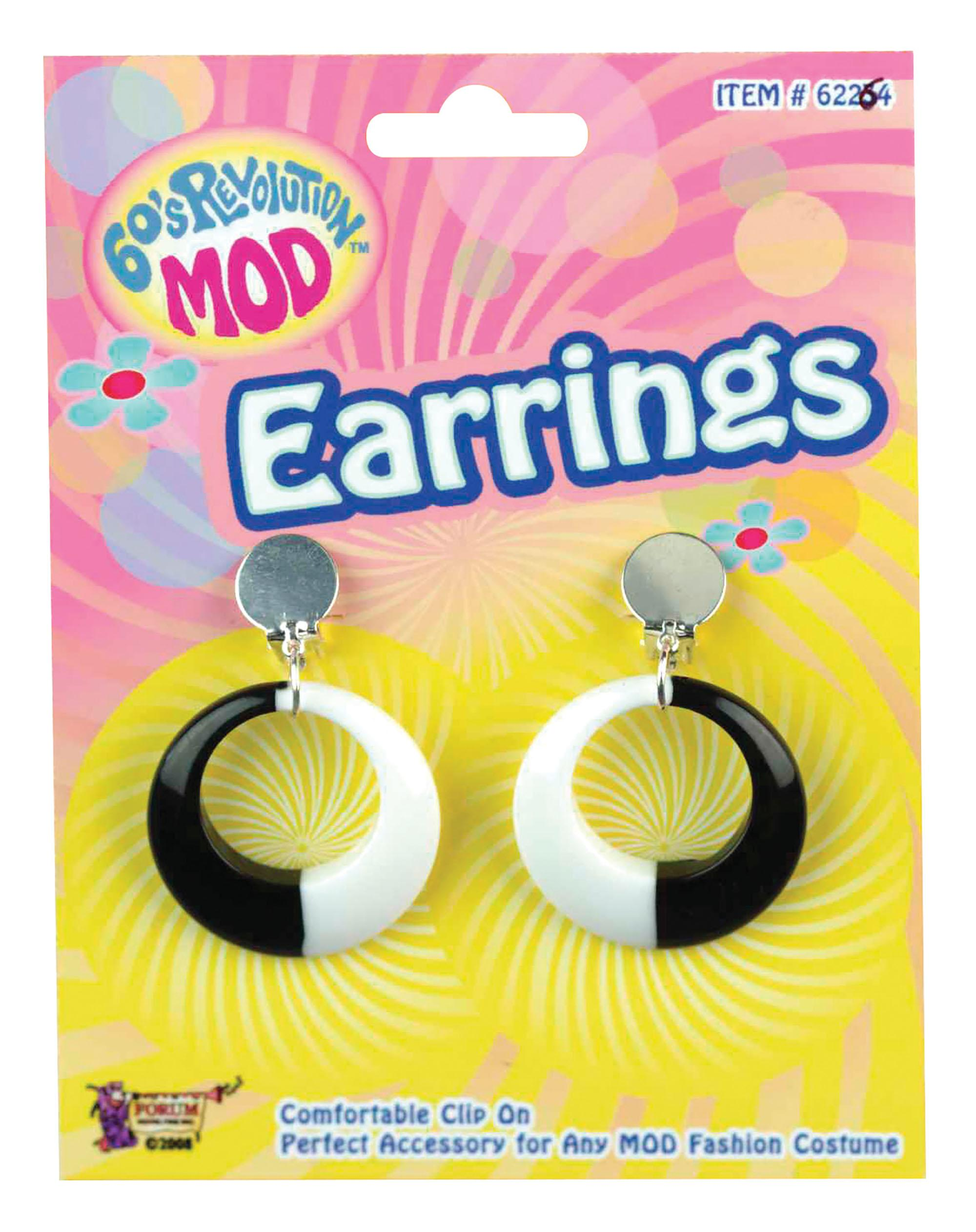 Mod Glitter Earrings Black & White