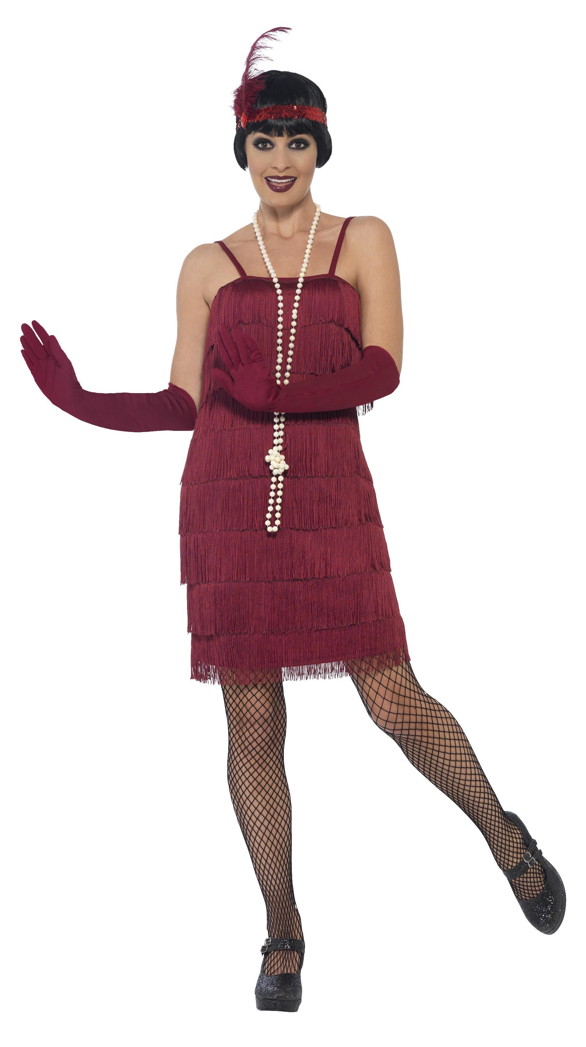 1920s Flapper Costume Burgundy