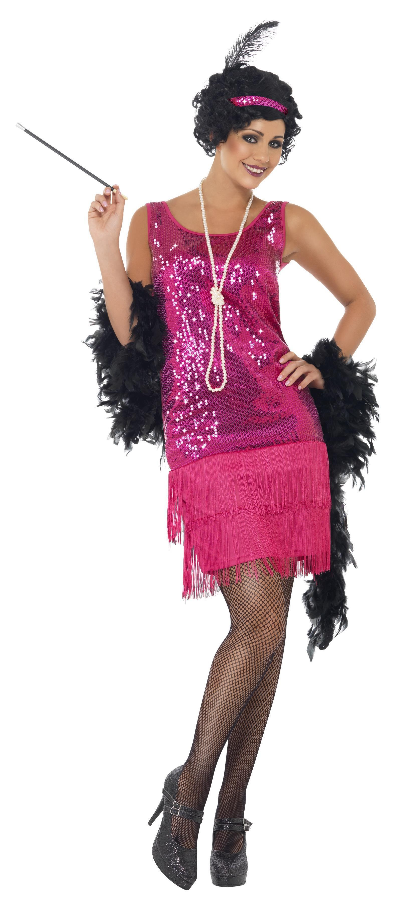 1920s Funtime Flapper Costume Hot Pink