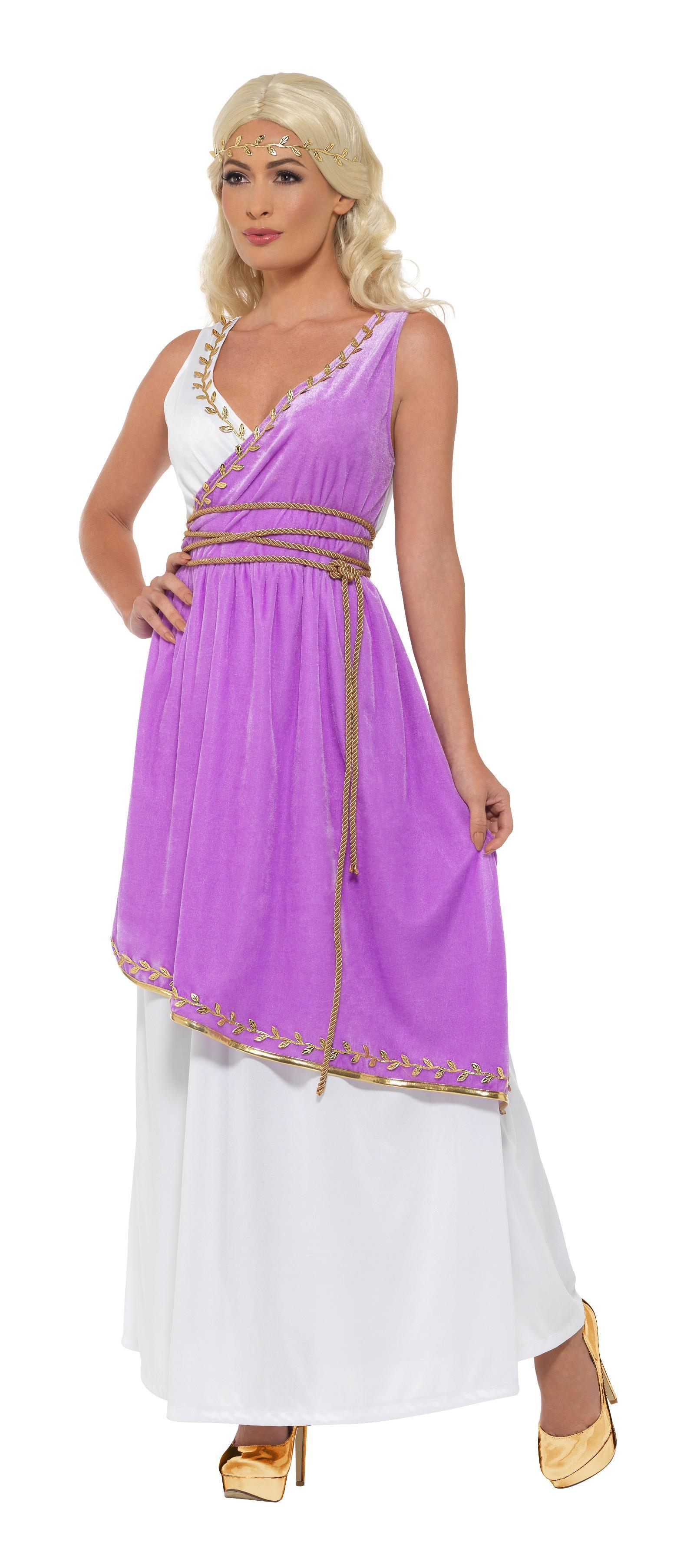 Grecian Goddess Costume White & Purple