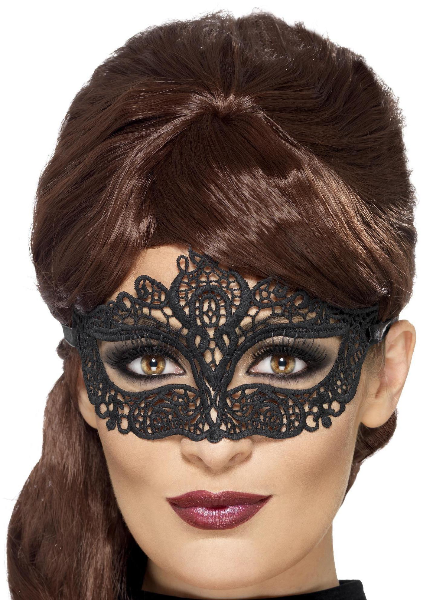 Embroidered Lace Filigree Eye mask Black