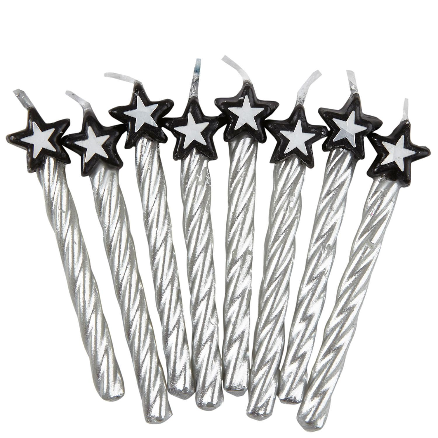 Birthday Candles with Star Silver & Black