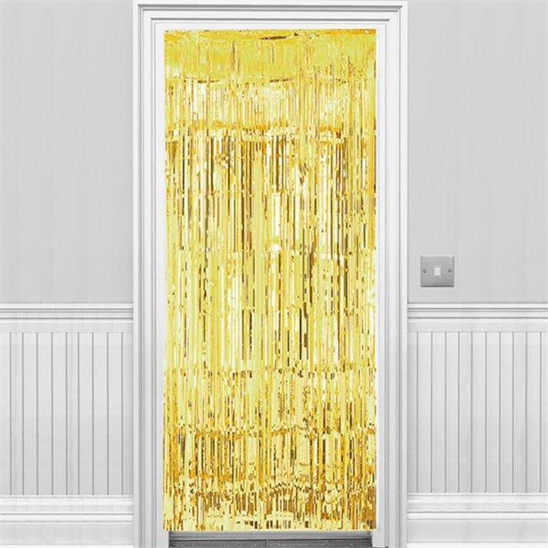 Metallic Fringed Door Curtain Gold