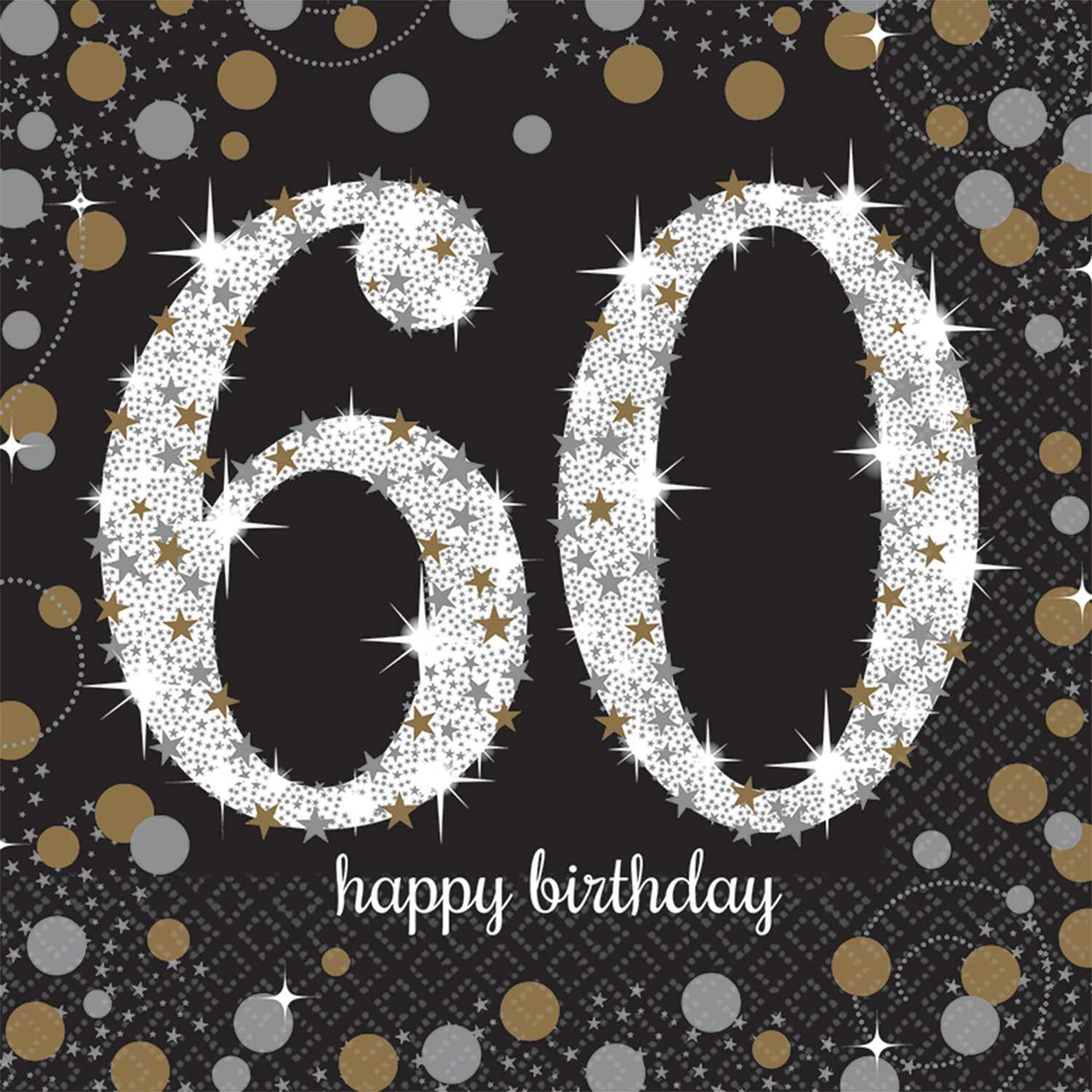 Paper Napkins 60th Birthday Black Gold Silver