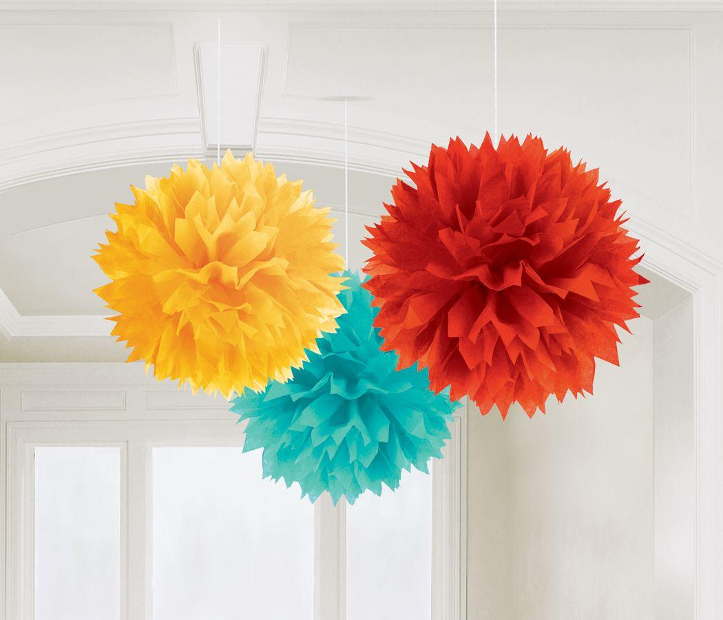 Fluffy Pom Poms Hanging Decoration Fiesta