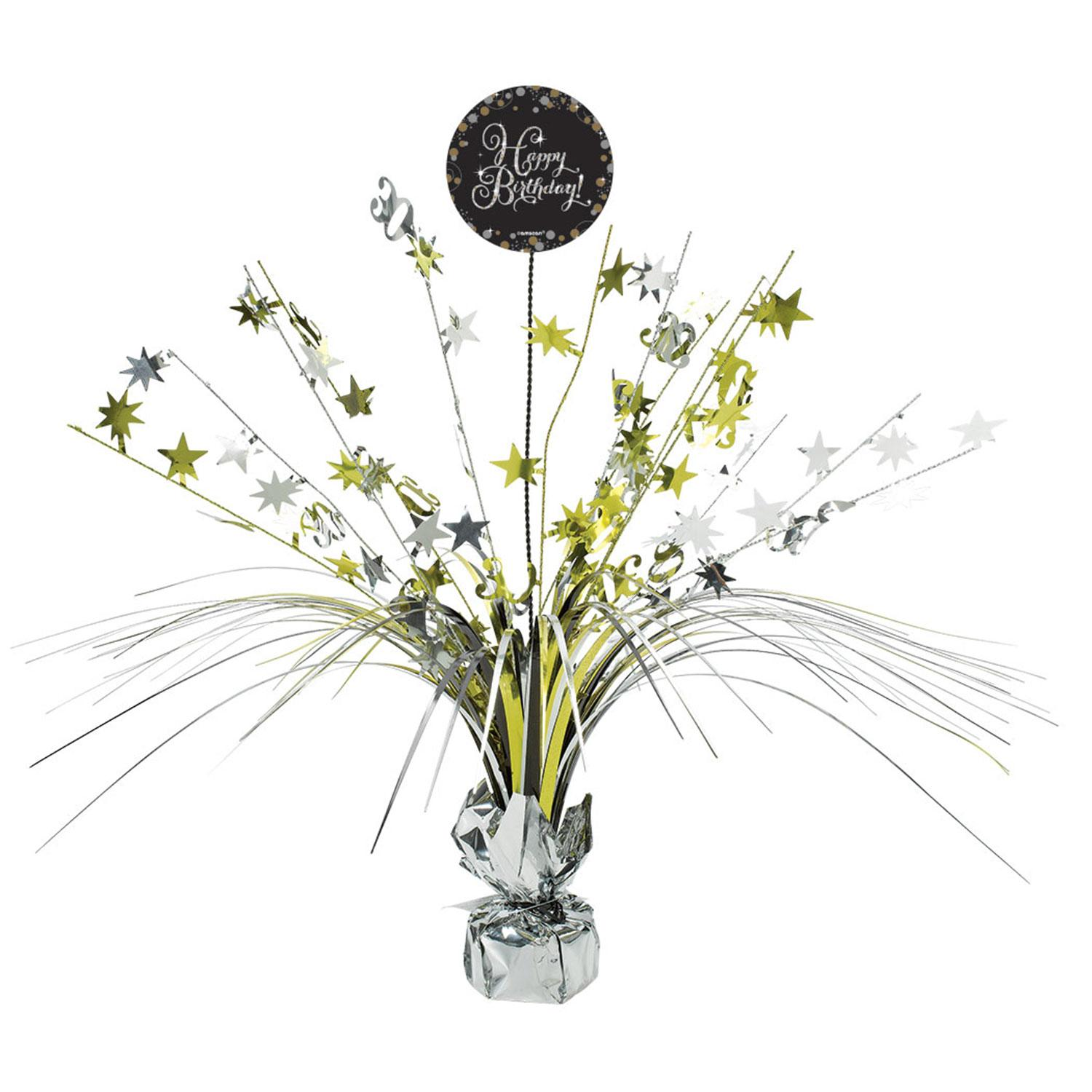 Centrepiece Spray Birthday Black Gold Silver