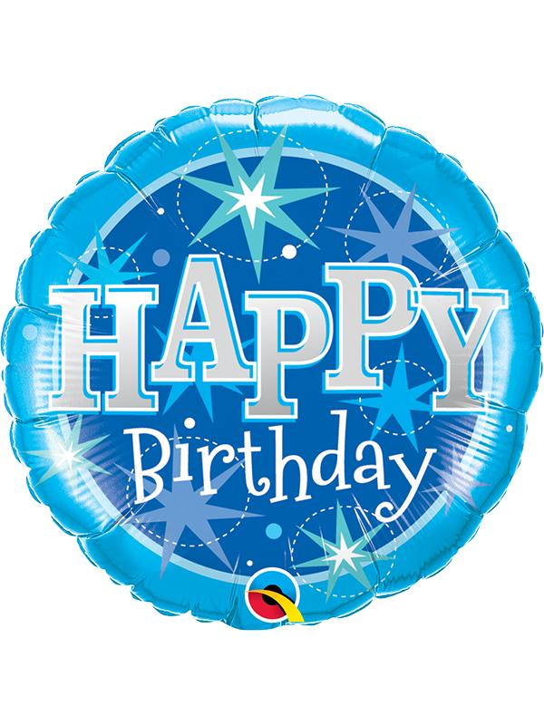 Foil Balloon Birthday Blue Sparkle 36 inch