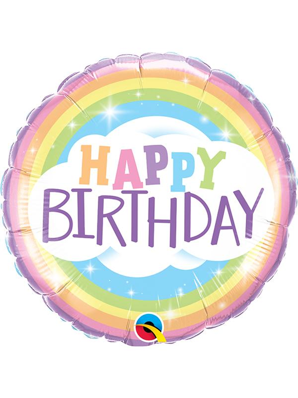 Foil Balloon Birthday Pastel Rainbow