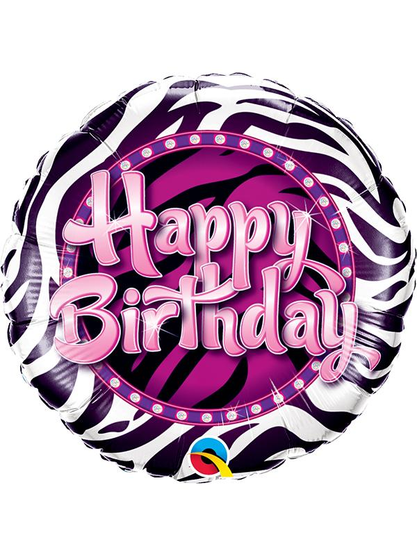 Foil Balloon Birthday Zebra Stripe