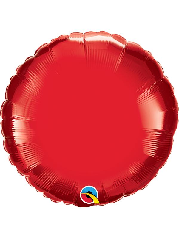 Foil Balloon Round Ruby Red