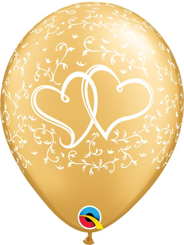 Latex Balloons Entwined Hearts Gold