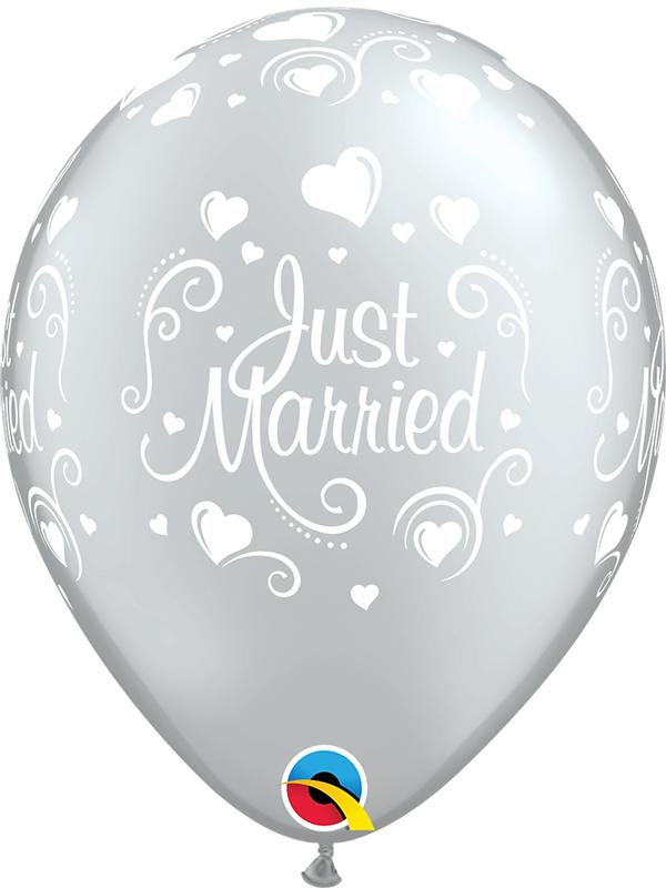 Latex Balloons Just Married Silver