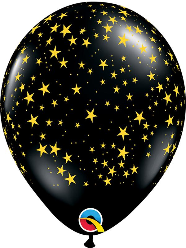 Latex Balloons Stars-A-Round Black
