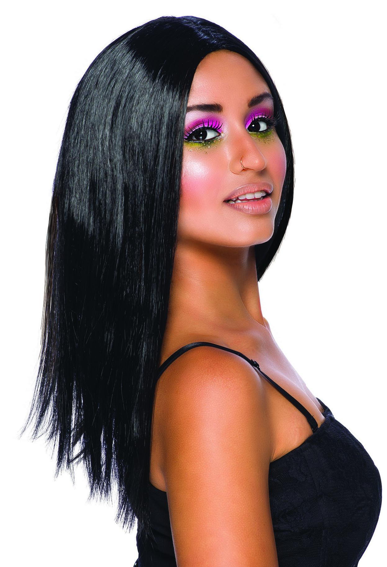 Long Centre Parting Wig Black