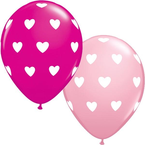 Latex Balloons Big Hearts Pink & Wild Berry