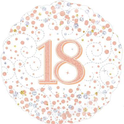 Foil Balloon Sparkling Fizz 18th Birthday White & Rose Gold