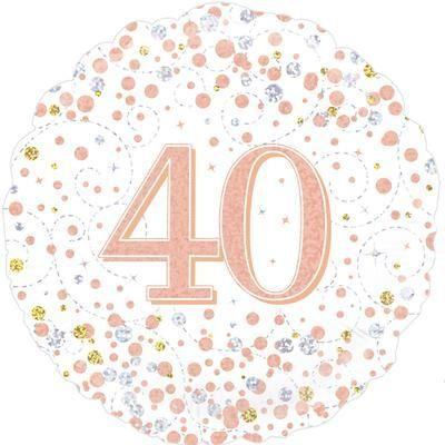 Foil Balloon Sparkling Fizz 40th Birthday White & Rose Gold
