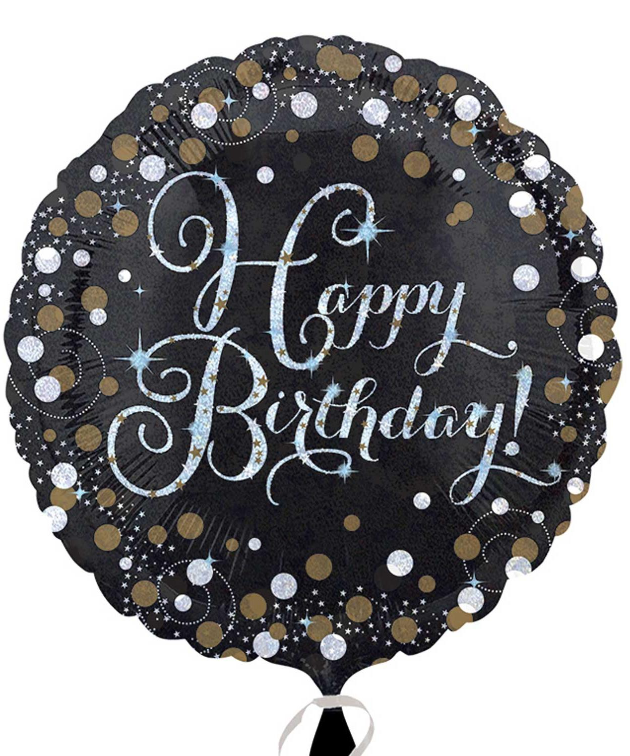 Foil Balloon Birthday Sparkling Black