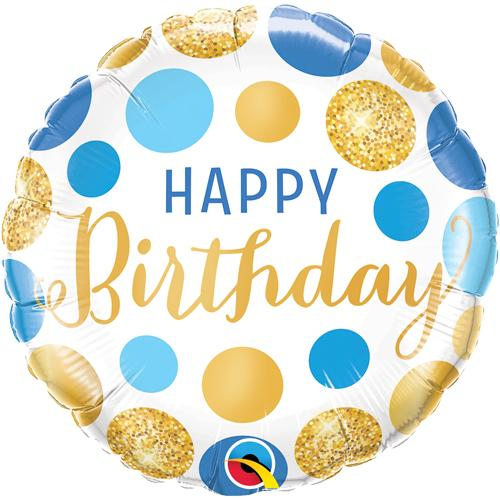 Foil Balloon Happy Birthday Blue & Gold Dots