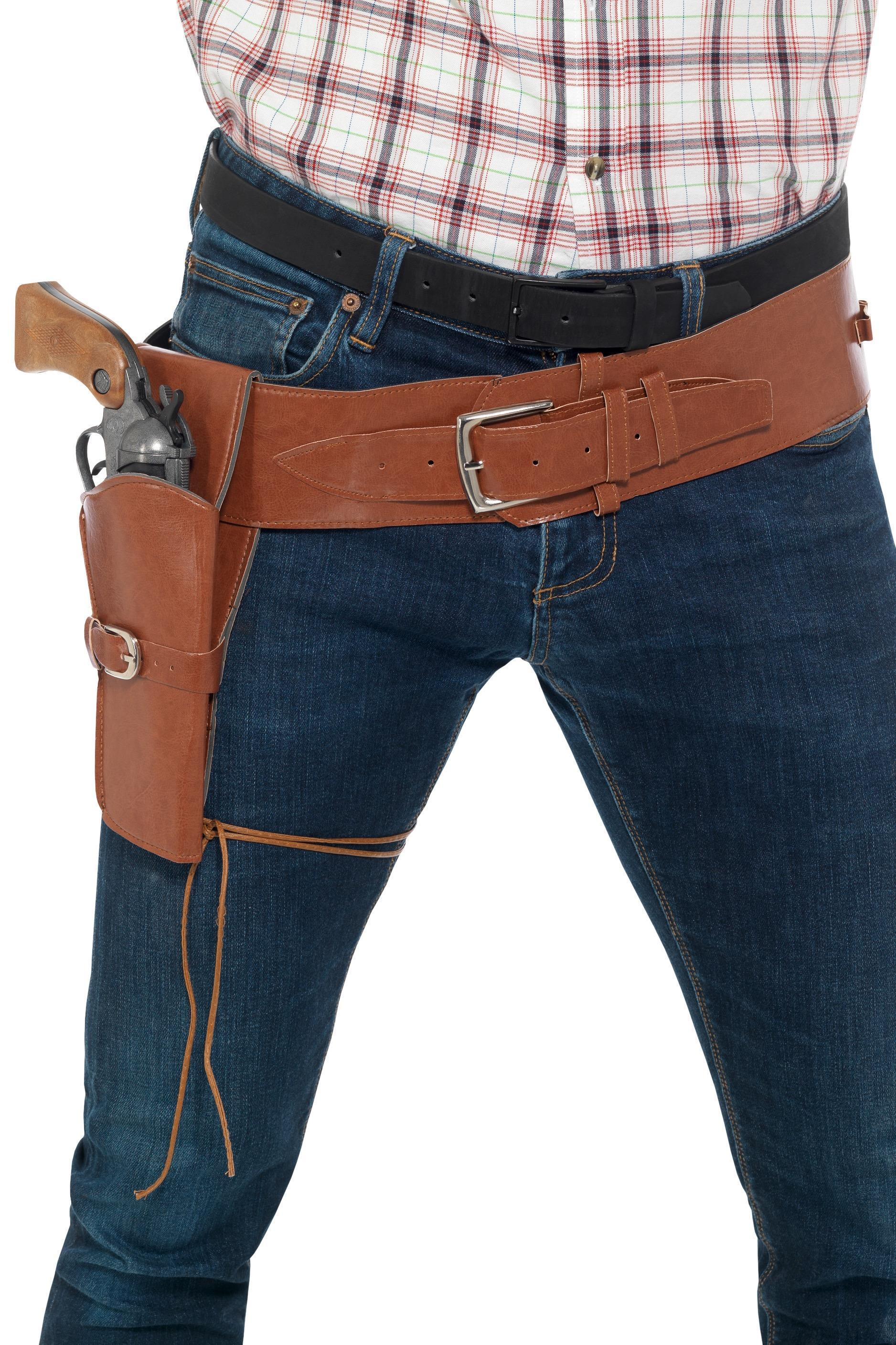Faux Leather Holster with Belt Brown