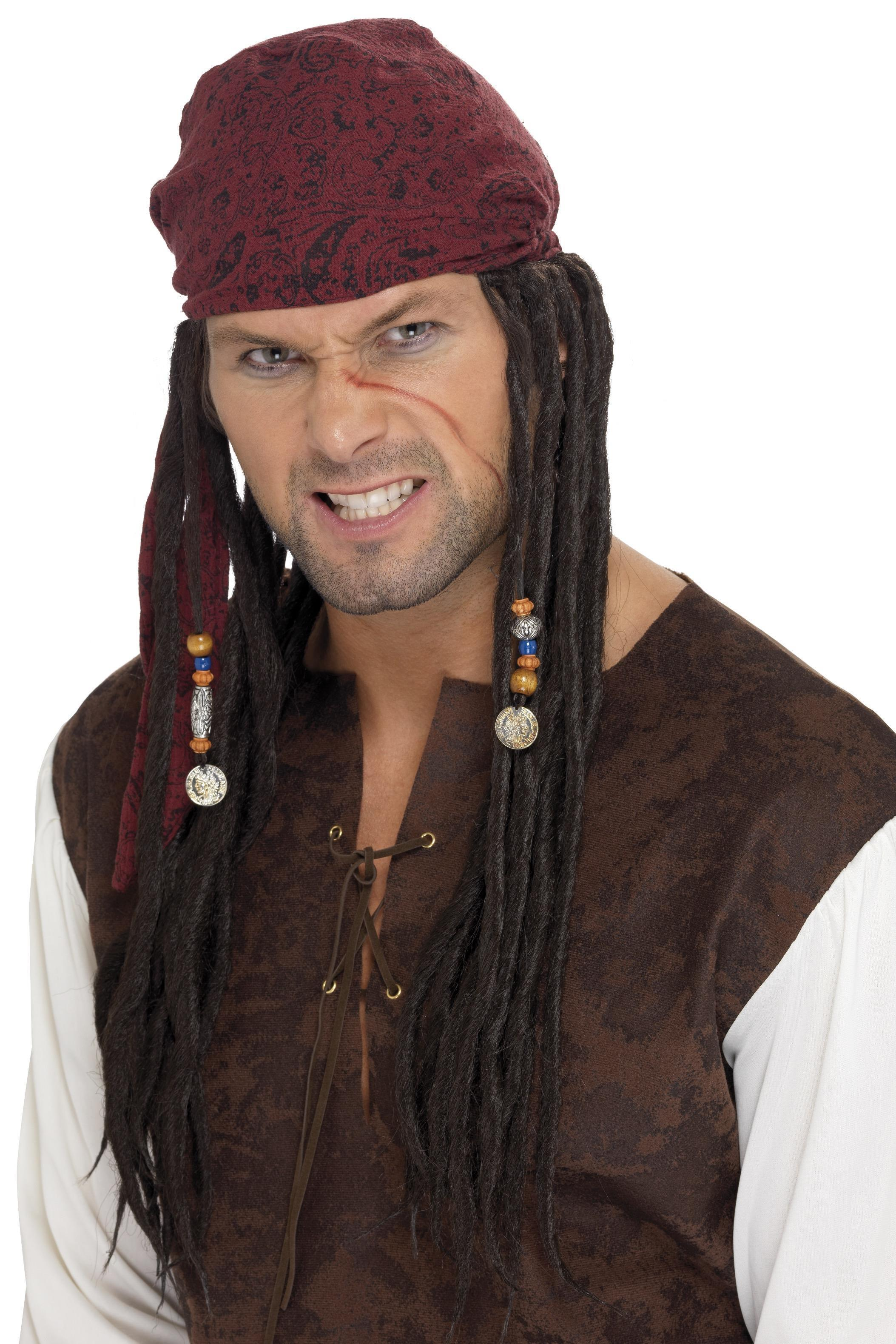 Pirate Wig & Scarf Brown