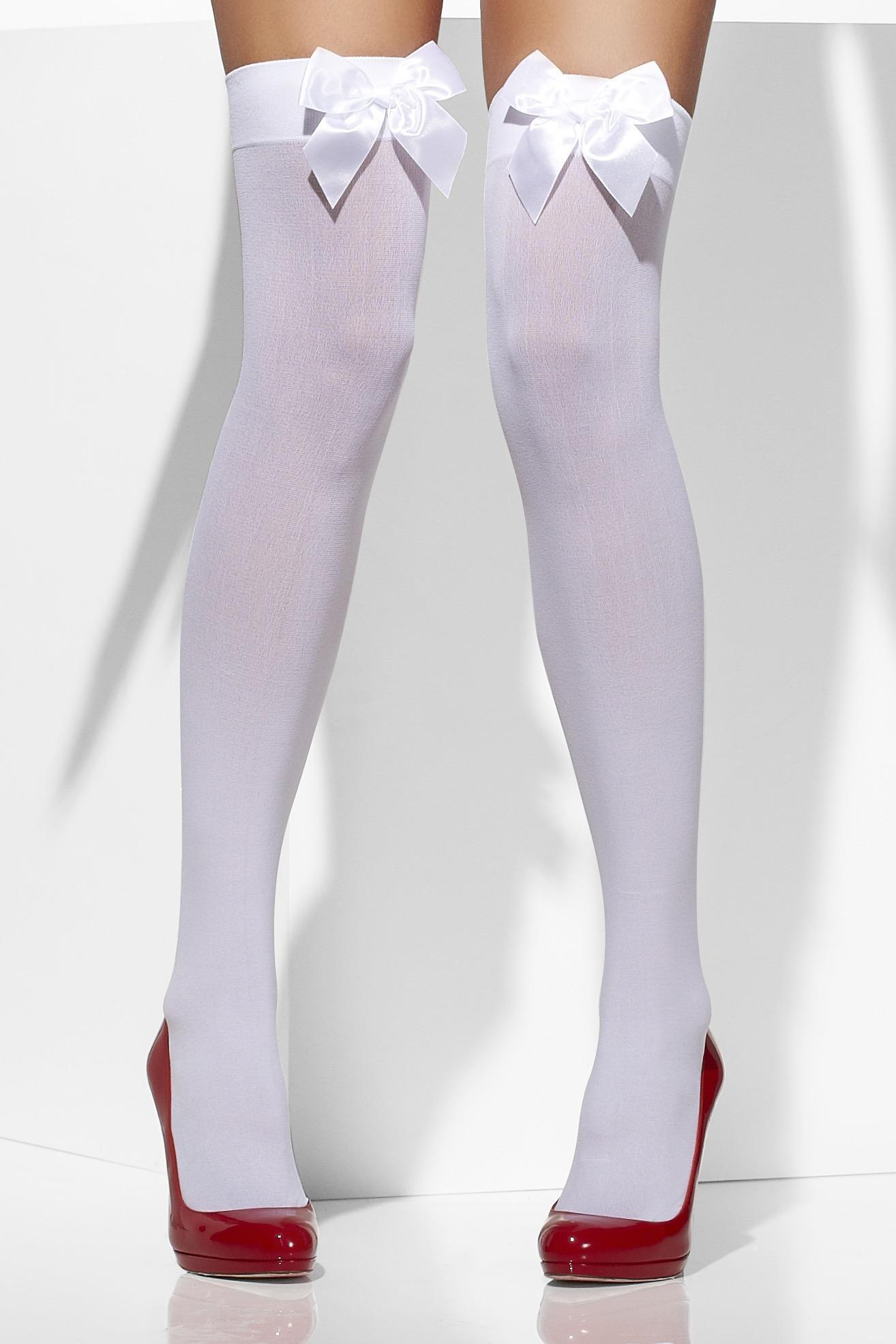 Opaque Hold-Ups Black with White Bows