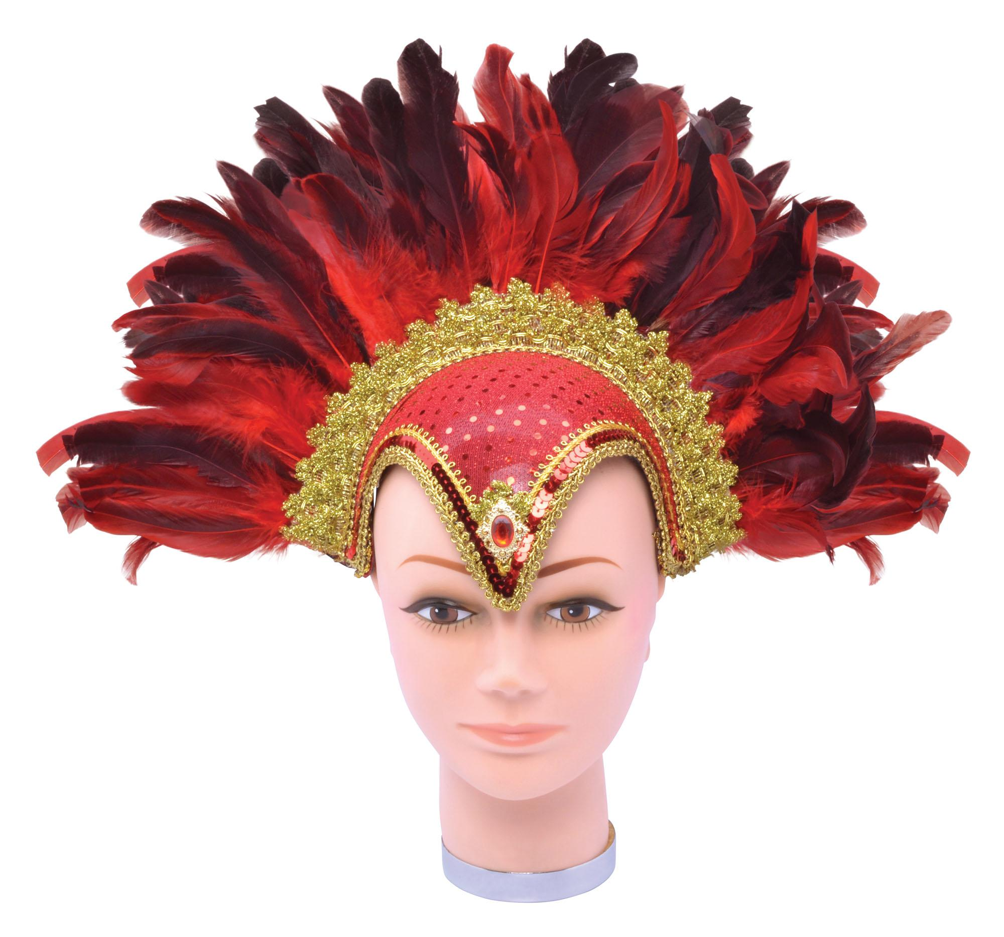 Feather Headdress Sequin Red & Gold