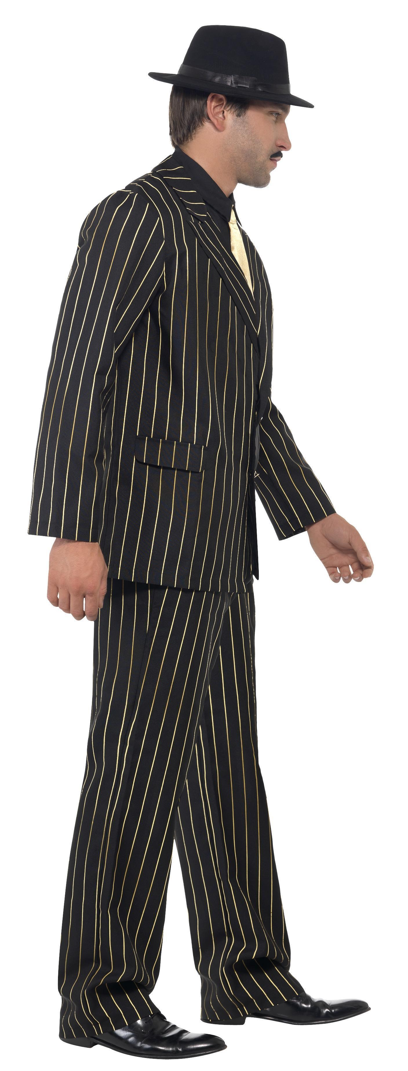 Marilyn Monroe Tommy Gun: 20s Gangster Suit Gold Pinstripe