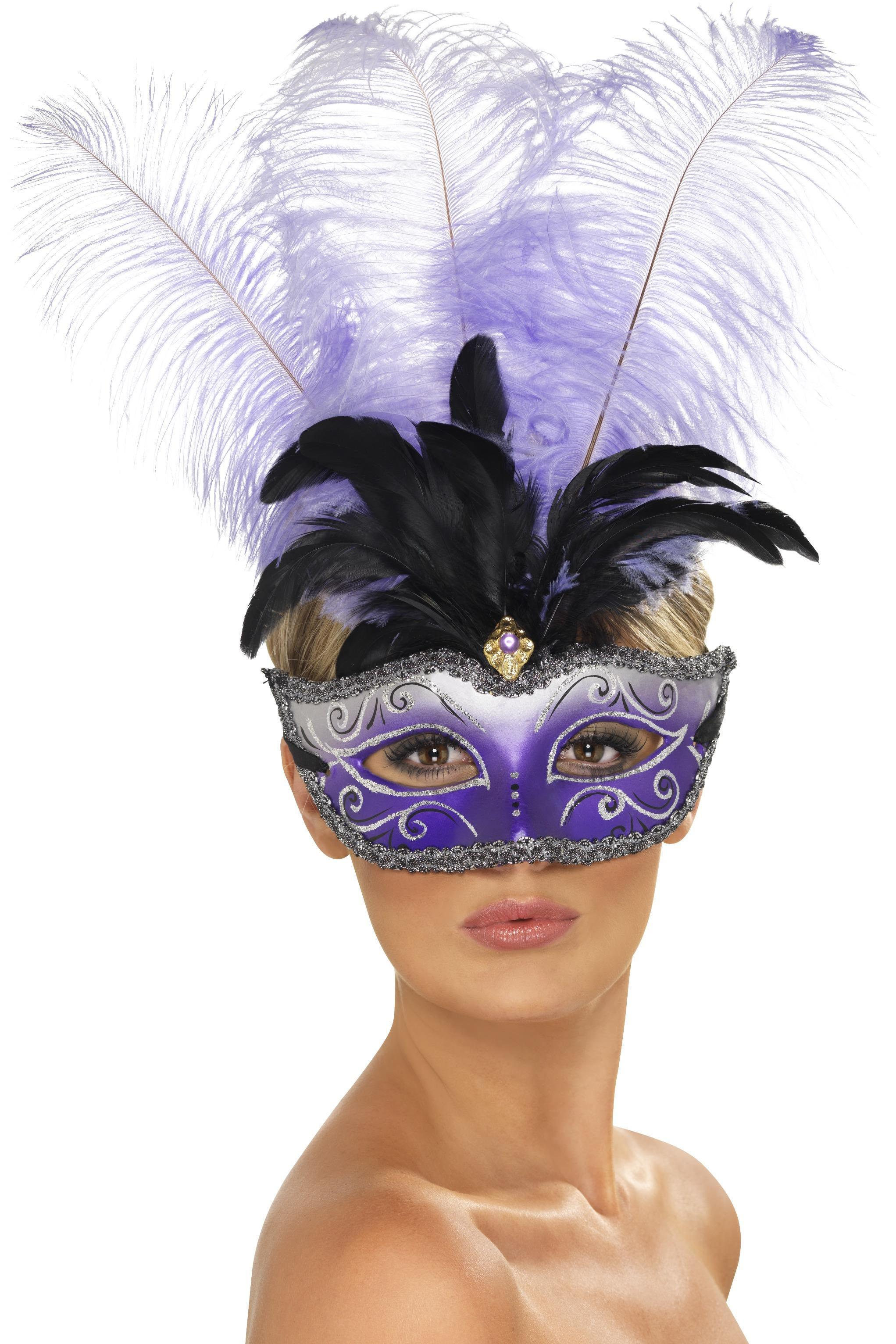 Venetian Colombina Eye Mask Purple