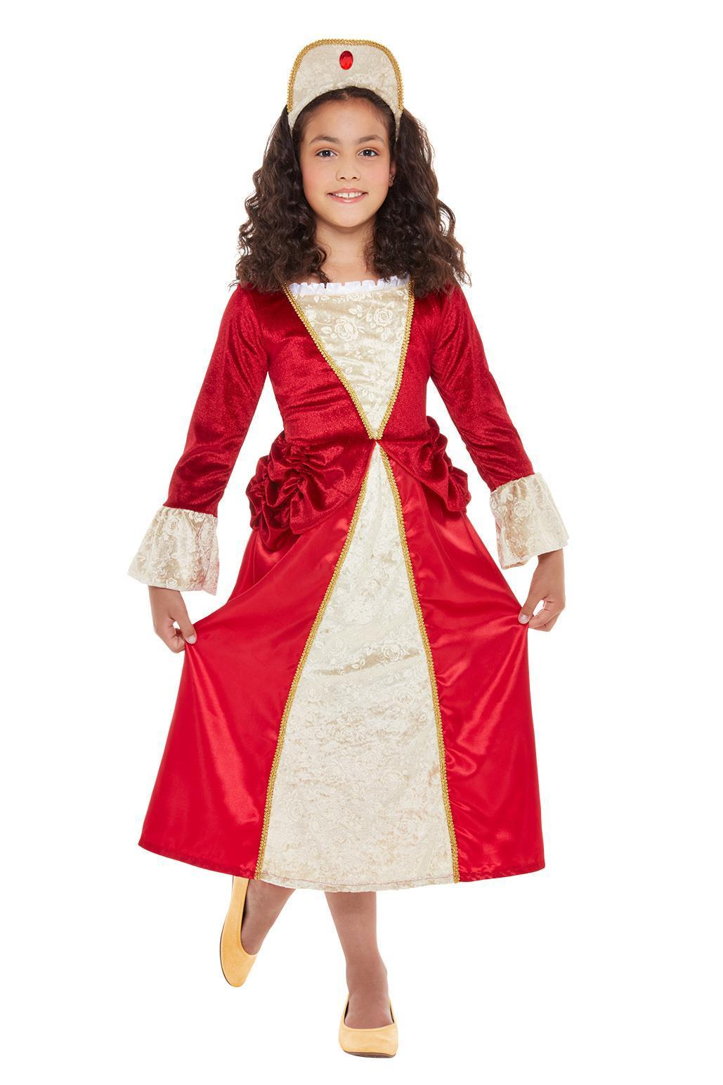 Kids Deluxe Tudor Princess Costume Red