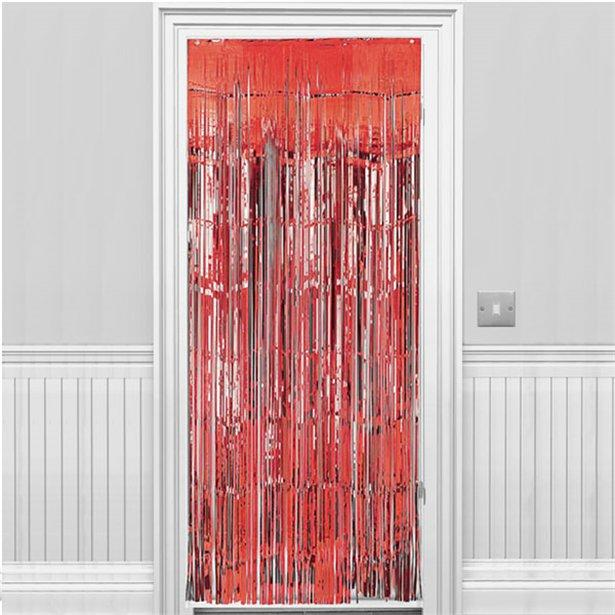 Metallic Fringed Door Curtain Apple Red