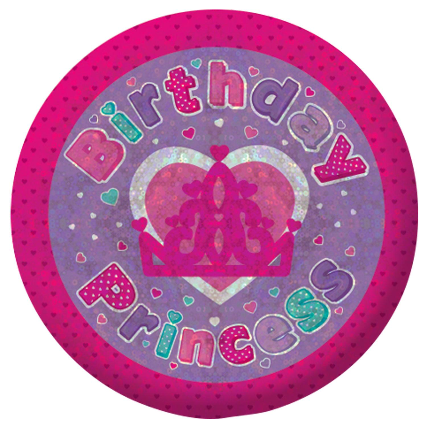 Holographic Badge Birthday Princess