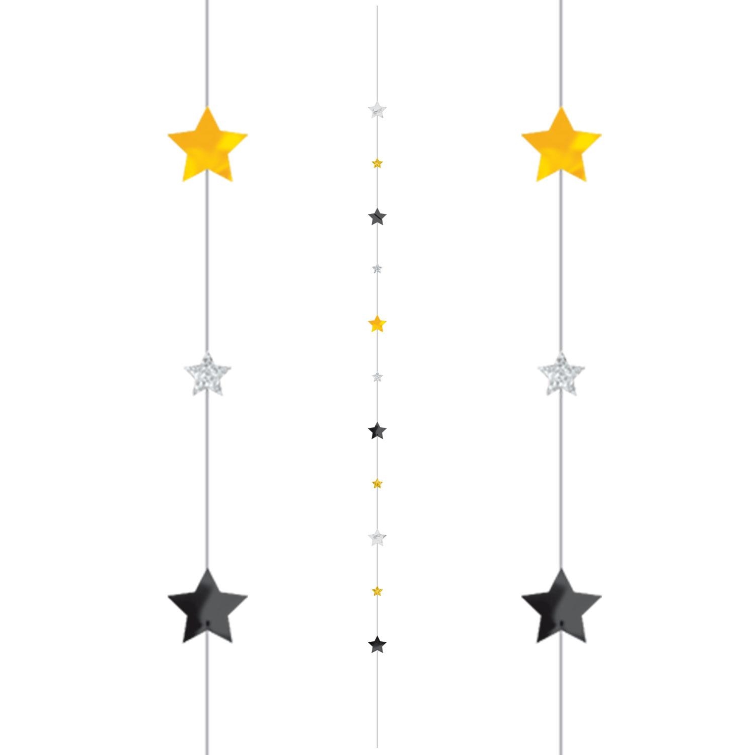 Balloon Tail String Stars Gold Black Silver Glitter & Foil