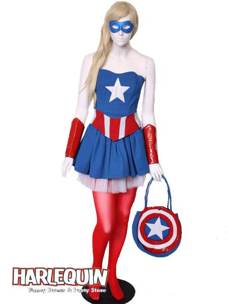 Captain America Girl Style Hire Costume