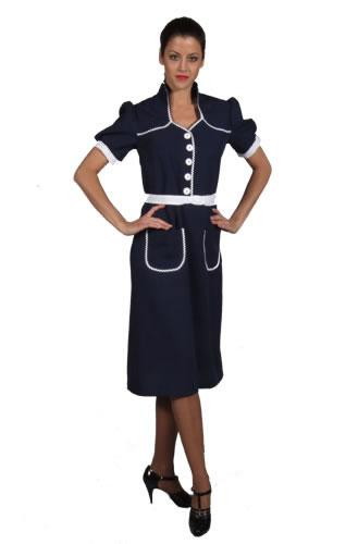 1940s Dress Blue Hire Costume