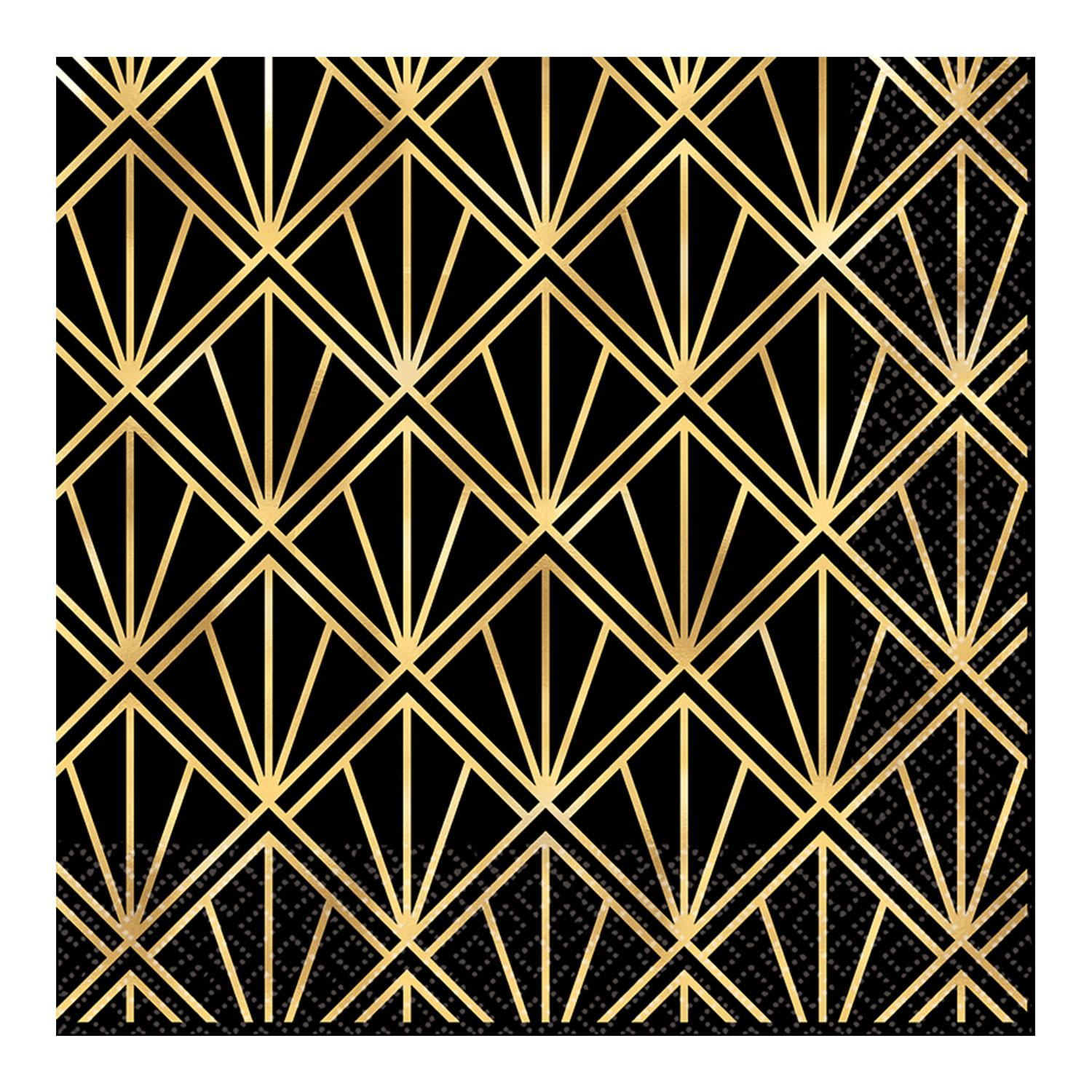 Paper Napkins Hollywood Hot Stamped Gold & Black