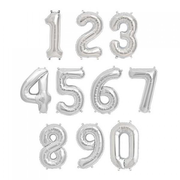 16 Inch Number Foil Balloon Available in Silver or Rose Gold. One number supplied. Air-fill only. Will not float with helium.
