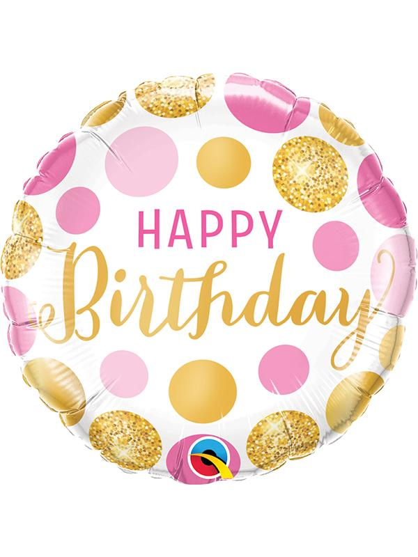 Foil Balloon Birthday Pink & Gold Dots