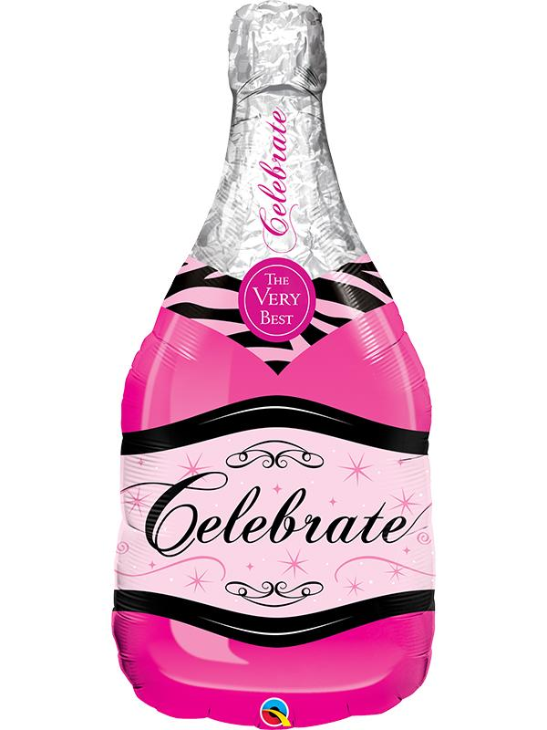 Foil Balloon Celebrate Bubbly Wine Bottle Pink